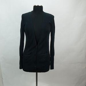 Black Deep V Neck Button Up Cardigan S